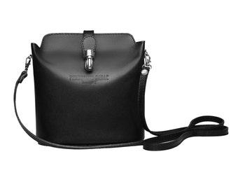Leather Bag | Leather Handbag VERONA by FERDINAND SABAC | Womans Gift | Black Bag Shoulder Bag Womens Bag Evening Bag | Modern Minimalistic