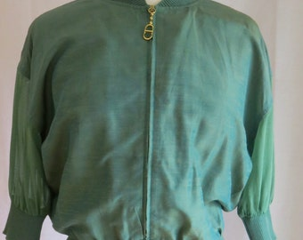 Vintage Christian Dior Green Short Sleeved Lightweight Jacket - 10 UK