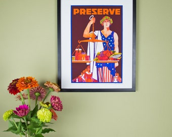 Preserve Poster - Justice Holding Scales of Fresh Produce - Vintage Poster Reproduction