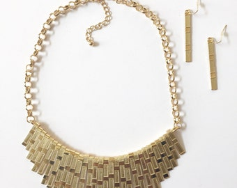 Chunky Gold Fringe Metal Bar Necklace Set, Gold Necklace, Fringe Necklace, Statement Necklace, Gold Tribal Necklace, Gift Idea For Her