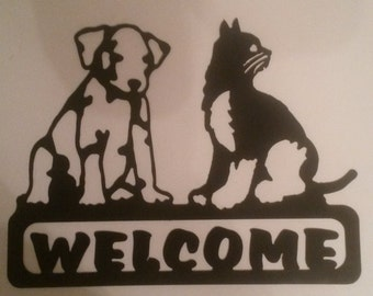 Welcome Cat, Dog Sign Metal