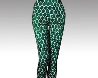 Green Fishscale Pants - Dark Green - Fishscale Pants - Capri Pants