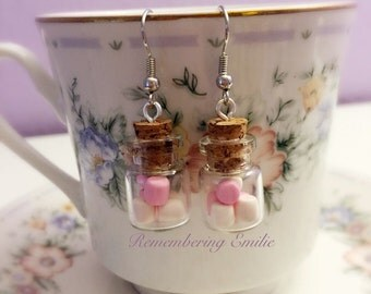 Marshmallows in bottle earrings, polymer clay miniature food jewelry,