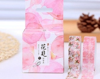 2 in 1 Pink floral - Washi Tape, Masking Tape, Planner Stickers -