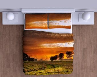 Sunset Countryside Duvet Cover - Super Soft Duvet