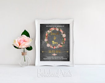 Welcome Wedding Sign Welcome to Our Wedding Sign Printable Welcome Sign Printable Wedding Sign Custom Wedding Sign Floral Wedding Sign Print