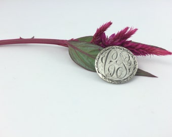 Initials CS Love Token, Wreath Dime Brooch