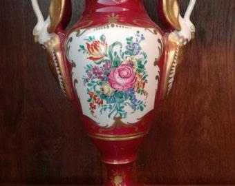 Antique French Vase Porcelain Vase Floral Fuchsia Swans Vase Napoleon PORCELAINE de COULEUVRE Edition D ART 1900c
