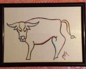 Chinese Zodiac- Year of the Ox Original Print- Framed