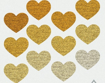 Gold Heart Clipart, Valentine Clipart, Valentine Hearts, Valentine's Day Clipart, Small Commercial Use, PNG hearts, gold clipart, glitter