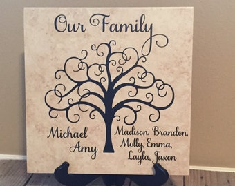 Monogrammed Tile, Personalized Tile, Name Tile, Family Gift, Personalized Gift, Gifts for Her, Family Tree, Housewarmig Gift