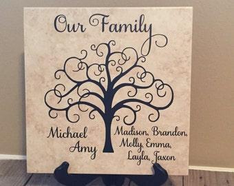 Monogrammed Tile, Personalized Tile, Name Tile, Family Gift, Personalized Gift, Gifts for Her, Family Tree, Housewarmig Gift