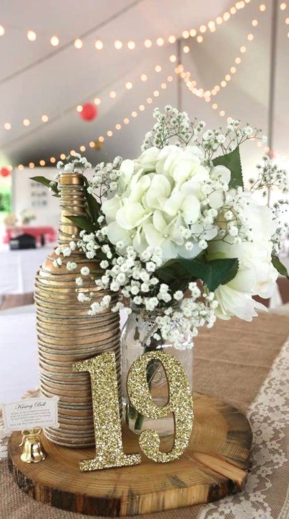 Wooden glitter table numbers wooden table by for Glitter numbers for centerpieces