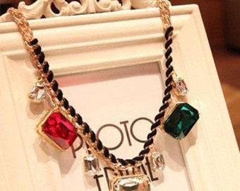 Colorful big crystal gold short necklace