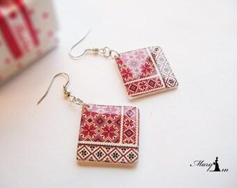 Ukrainian Vishivanka earrings. Handmade Jewelry  earrings with an ethnic Ukrainian ornament. Jewelry  resin. Two-sided. Ethnic decor. Summer