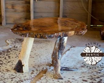 Live Edge Rustic Log End Table