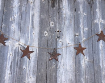 rustic tin star banner, rustic tin stars, rusty star banner, rusty tin stars, rustic patriotic decor, rustic July 4th decor, tin star banner