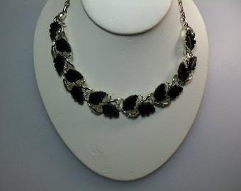 Vintage Silver Tone Black Thermoset Mid Century Plastic Leaves Necklace