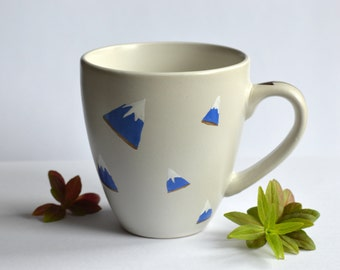Mountain Mug - Nature - Coffee Cup - Tea - Alps - Peaks - Blue and White - Gold - Outdoors - Adventure - Travel - Gift - Climbing - Explorer