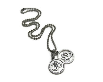 Silver Om & Lotus Necklace, Yoga Jewelry