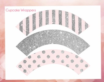 Cupcake Wrappers pink and silver, glitter cupcake wrappers, cupcake wrappers printable, Digital File.