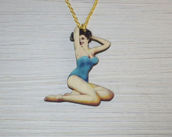 Pinup Girl Necklace, Laser cut Wood, Swimsuit Pose