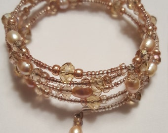 Freshwater Pearl and Champagne Beaded Wrap Bracelet