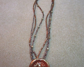 Vintage Ceramic Button Pendant Necklace