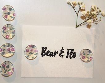 Set of Six ~ Purple & Teal Flowers ~ Glass Magnets ~ Fridge Magnets ~ Refrigerator Magnets ~ Ornamental Magnets