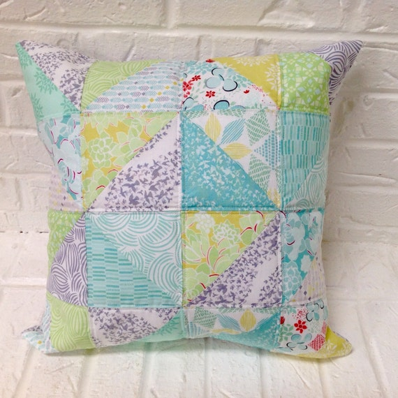 Quilted pillow cover / Fits 18 X 18 insert / decorative