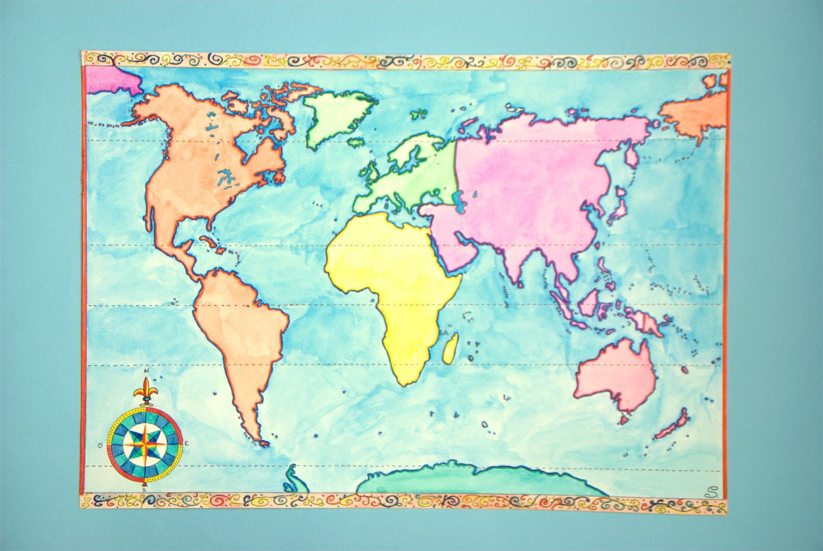 aquarelle originale carte du monde a3 mappemonde oeuvre. Black Bedroom Furniture Sets. Home Design Ideas