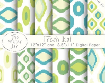 Ikat Digital Paper Commercial Use, Blue Green Digital Paper Ikat Pattern Pack, Seamless Ikat Paper, Ikat Scrapbooking paper pack, Summer