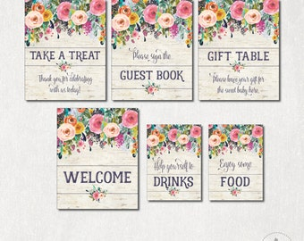 Printable Floral Baby Shower Table Signs. 6 Signs. Gift Table Favors Sign. Rustic Flower Shower Table Decorations. Welcome. Guestbook. SUB1