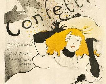 Confetti Toulouse-Lautrec Vintage Advertising Poster Print
