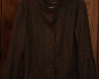 LAL, Plaid Jacket with Scoop Neck and Bell Sleeves