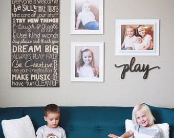 Playroom Rules Sign for Nursery Gameroom or Kids Room