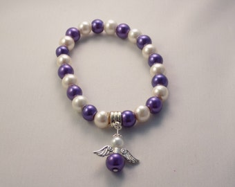 Handmade Purple Pancreatic Cancer Awareness Gaurdian Angel small 7 inch stretchy bracelet