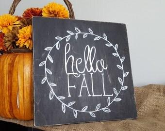 Hello Fall Sign- Hello Fall- Fall Sign- Rustic Fall Sign- Fall decor