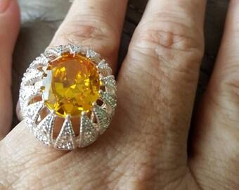 Honey Quartz Ring- size 8.25!