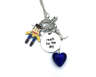 "Reach for the Sky Woody Toy Story Inspired Glass Beaded Charm 26"" Chain Necklace Silver Tone"