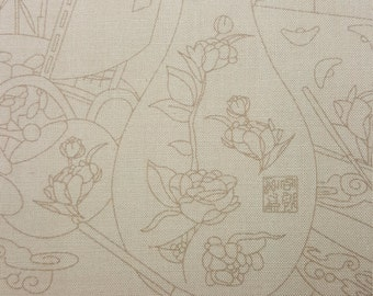 Subtle Asian Print Fabric, Sold by the Half Yard, Quilting Fabric, Out of Print, FBTHY, Asian Inspired, Vase, Bamboo, Asian Tea,