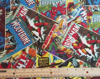 Comic Book Fabric, Yardage, Fat Quarter, FQ, Marvel Heros, Comic Book Covers, Wolverine, Iron man, Hulk, Thor, Spiderman, Captain America