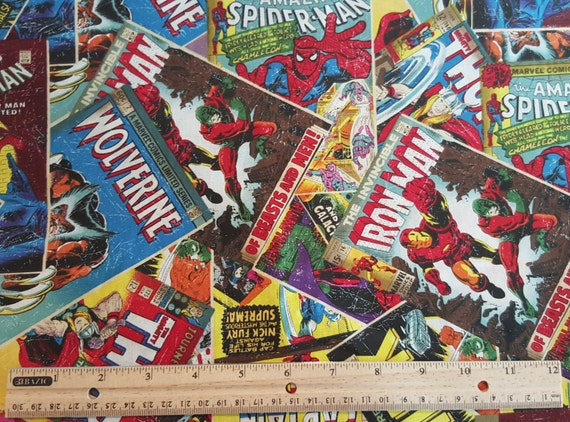 Comic Book Cover Material ~ Comic book fabric yardage fat quarter fq marvel heros