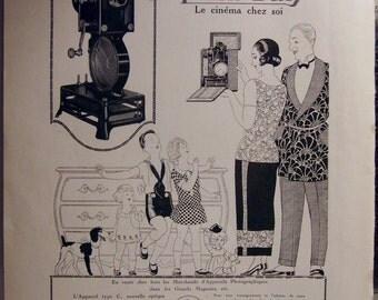 """Original Vintage 1924 """"PATHÉ-BABY"""" Home Projector Art Déco Advert (13 3/4'x11' - 35x28cm)"""