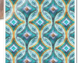 Decoupage Paper • 70s 1970s retro pattern blue • for mod podge decopatch scrapbooking