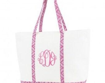 Monogrammed Canvas Tote/Beach Bag