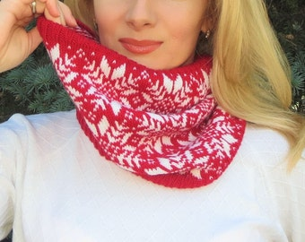 Knit wool scarf nordic snowflake red scarf neck warmer cowl scarf circle scarf knit infinity scarf cable scarf womens snood Christmas scarf