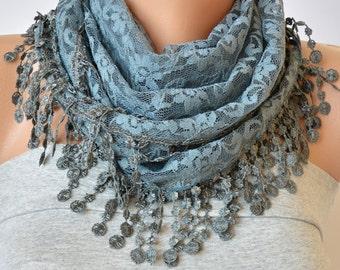 Grey Lace Scarf- Lace Scarf- Lace Scarf with Lace Trim- Gift Ideas- Bandana- Headband- Summer Scarf- Spring Scarf