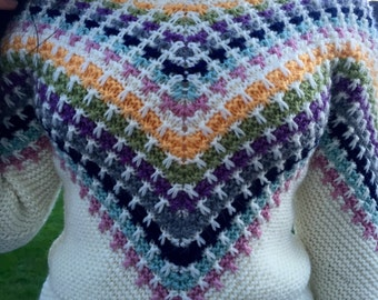 Gorgeous multicolored pattern on white handknitted jumper & on grey skirt!