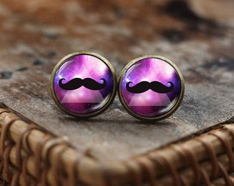 Hipster Mustache stud earrings, Hipster Jewelry, mustache earrings, mustache jewelry, Hipster earrings, Space Galaxy Mustache earrings